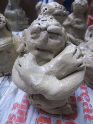 Pottery buddha made by yr6 children at Marlbrook primary school