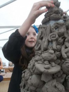 Mountain of modelled clay food at Flavours of Herefordshire Festival 2013