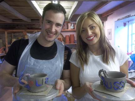 Potting pair Liz & Russ make pots from clay to celebrate a 27th Birthday