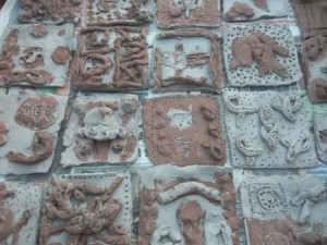 Ceramic artist Jon Williams worked with Finstall First School in Bromsgrove to make anglo saxon clay tiles