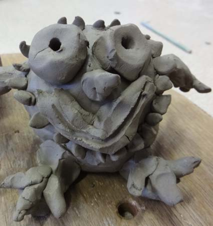 Pottery monster made by pupil at Bishops Cleeve Primary School