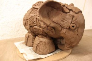 Elmer the elephant made from terracotta clay