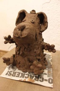 Kipper the dog made from terracotta clay