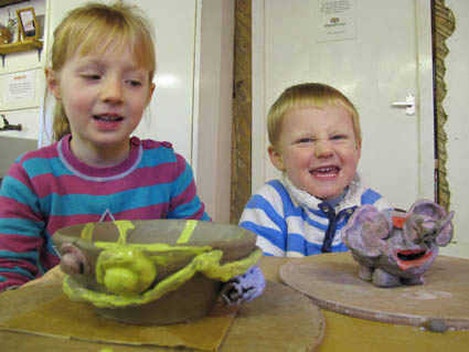 Children make pots at Eastnor Pottery