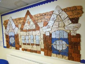 Centenary tile panel made by Catshill First School and Jon the Potter