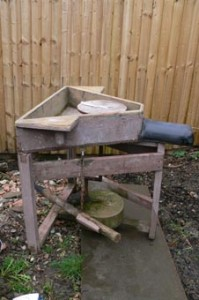 One of our pottery workshop participants owns this lovely foot powered potters wheel