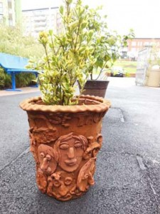 Terracotta collaborative plant pot in Birmingham