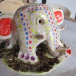 Elephant inspired pottery lantern made by customer at Eastnor Pottery Herefordshire