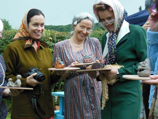 Pottery hens dress up as nannas and grannys at herefordshire pottery studio