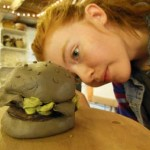 Clay burger made by young potter at Eastnor Pottery during the school holiday