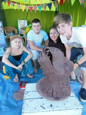 Collaborative clay workshops at Herefordshire Noztock Music festival near Bromyard