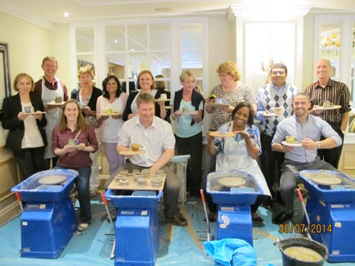 Creative clay & pottery session for pharmaceutical company