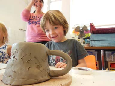 Pottery for kids at Bilston Craft Gallery Aug 2014