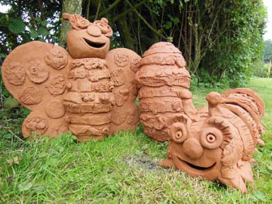 Collaborative clay sculpture made by worcestershire school children