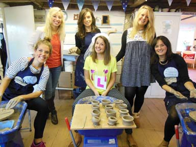 Group of women enjoy their hen party celebrations at Eastnor Pottery making clay pots on the potter's wheel