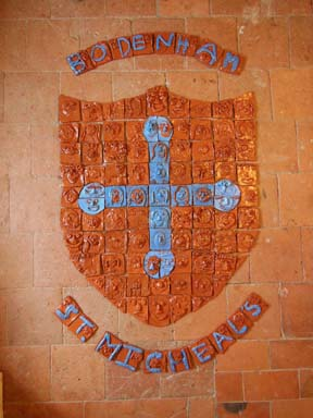 Each child in St Michaels Primary school Bodenham made a selfie clay tile to make up a giant tile panel of the school logo