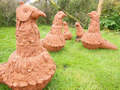 Collaborative clay sculpture created by Eastnor Pottery & The Flying Potter and visitors to Eastnor Castle 3-7 August 2014