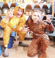 Jon & Lottie get ready for tiger inspired pottery workshops at Eastnor Pottery