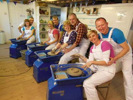 Ruthie and friends celebrate her 50th birthday in Herefordshire Pottery