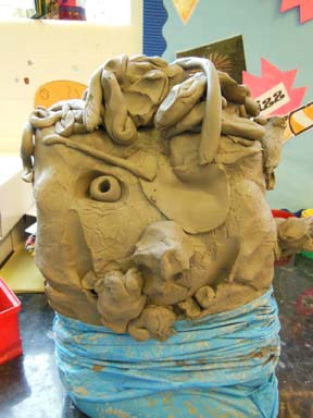 Bag of clay transforms into a clay pirate at Birmingham Nursery School