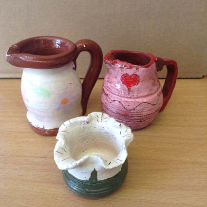 Glazed and fired results from a potter's wheel weekend workshop
