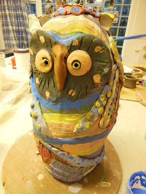 Colourful collaborative owl made by young people at Barons Cross Youth Centre near Leominster