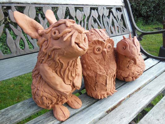 Worcster Primary School terracotta animals made with the help of Eastnor Pottery and the Flying Potter