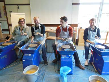 Corporate client enjoys pottery activity at Farncombe Conference Centre in Worcestershire