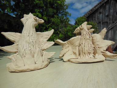 Firebirds clay sculpture made at Cherry Orchard Primary School Worcester