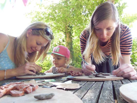 Visitors to Hellens Garden Festival 2015 get creative with clay