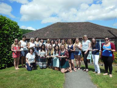 21 girls make hen party pottery at Eastnor