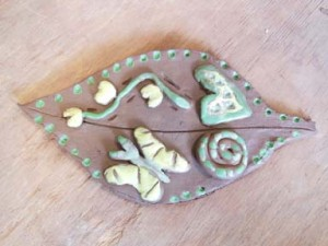 Creative pottery leaf for BMI with Eastnor Pottery