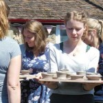 Finished hen party pots outside Eastnor Pottery