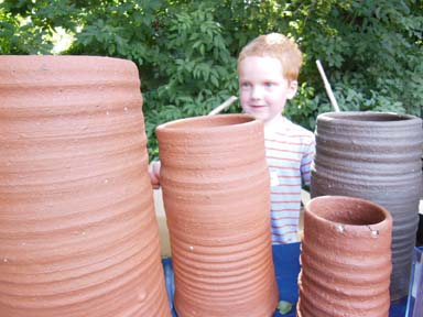 playing on the pots