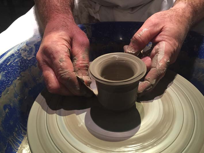 Steady hands on Potter's Wheel at Autodesk with Eastnor Pottery