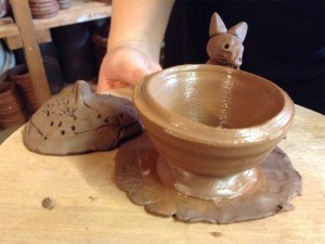 Brilliant Pinch Pot Squirrel made at Eastnor Pottery Children's holiday workshop