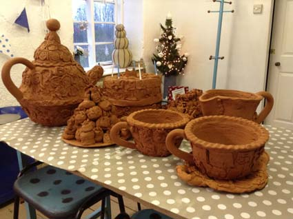 Jon and Sarah the Potters working with Malbrook Primary School and Terracotta