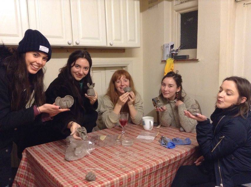 Royal Central students make pottery with Eastnor Pottery's  London branch