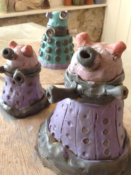 Daleks made of clay at Eastnor Pottery by Doctor Who and Pottery enthusiasts