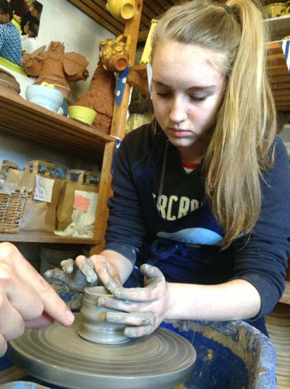 Duke Of Edinburgh New Skill Throwing on Potter's Wheel learnt at Eastnor Pottery