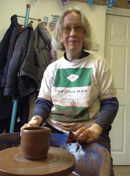 Gillian still making fantastic pots on the wheel at Eastnor Pottery after 15 years of visiting