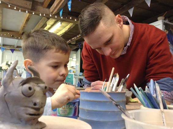 Creative clay figures being made at Eastnor Pottery