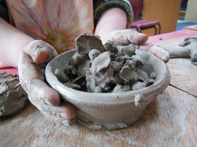 Early years clay project exploring language and communication at LPS Herefordshire