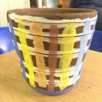 wheel thrown pot decorated by beginner at Eastnor Pottery