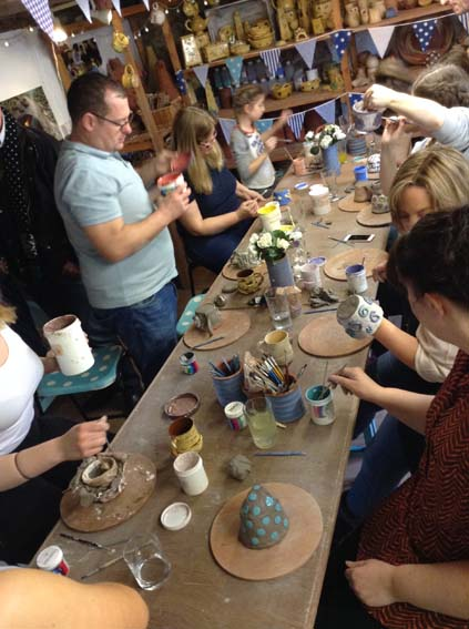 Large Family gathering at Eastnor Pottery for a day of clay