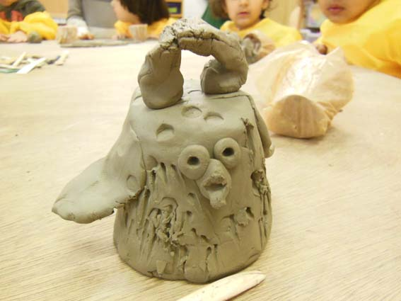 Eastnor Pottery at Washwood Primary School making clay coil pot chicks