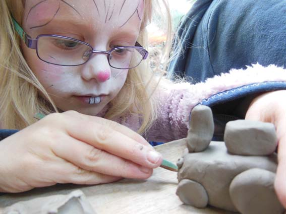 Making Clay Tractors at Country Tastic Three Counties Show Groun with Eastnor Pottery