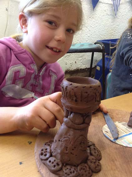 Clay Egg Cups made at Eastnor Pottery for Children's Easter Holiday Workshop - Hard Boiled