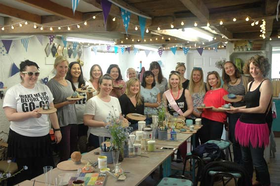 Hen party at Eastnor Pottery with their brilliant pottery creations