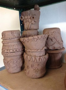 Clay coil pots made by adult learners at Herefordshire Libraries